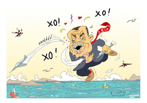 Cartoon: EDORGAN TURKEY CREECE (medium) by vasilis dagres tagged erdogan,turkey,creece,aegean,sea