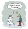 Cartoon: Tauwetter (small) by Lo Graf von Blickensdorf tagged winter,schneemann,tauwetter,trauzeuge,mann,hitzewelle,wortspiel,karikatur,lo,cartoon