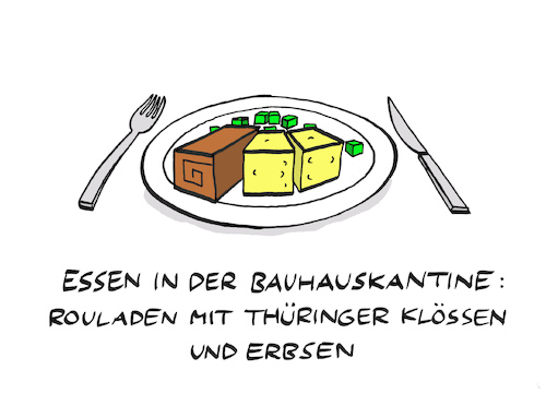 Cartoon: Baugasthaus (medium) by Bregenwurst tagged bauhaus,kantine,essen,moderne,design,roulade