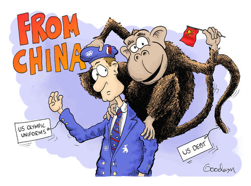 Cartoon: From China (medium) by Goodwyn tagged economy,debt,tags,uniform,monkey,olympics,america,china
