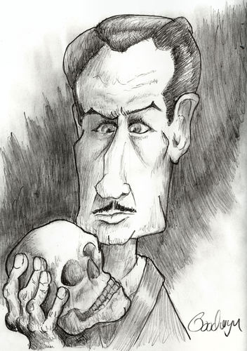 Cartoon: Vincent Price (medium) by Goodwyn tagged hand,halloween,skull,price,vincent