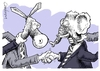 Cartoon: Cooperation (small) by Goodwyn tagged choke,throat,politics,donkey,elephant,republican,democrat,handshake