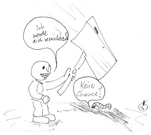 Cartoon: subjektiv (medium) by Der Apfel tagged wurm,regenwurm,axt