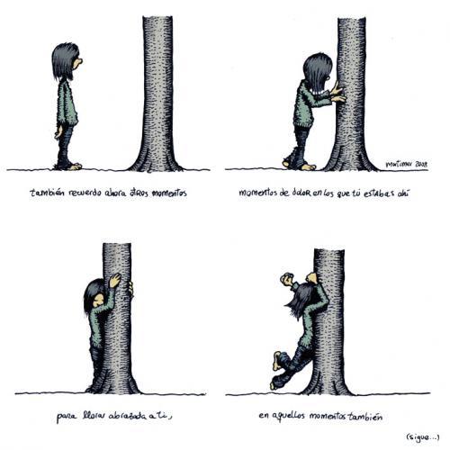 Cartoon: Abraza arboles 3 de 4 (medium) by mortimer tagged mortimer,mortimeriadas,cartoon,arbol,treebeing,deforestation,tree,hugger,abraza,arboles,abrazarboles,comic,ecologia