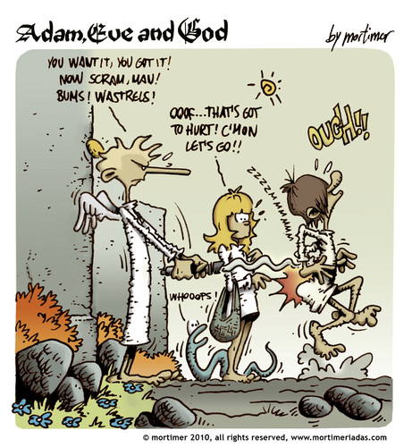 Cartoon: Adam Eve and God 44 (medium) by mortimer tagged mortimer,mortimeriadas,cartoon,comic,biblical,adam,eve,god,snake,paradise,bible,illustration,adam,eva,garten eden,bibel,religion,glaube,garten,eden