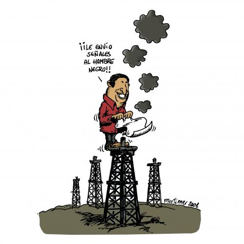 Cartoon: Chavez Signals (medium) by mortimer tagged mortimer,mortimeriadas,cartoon,hugo,chavez,petroleo,oil,obama,farc,venezuela,usa,elections,elecciones