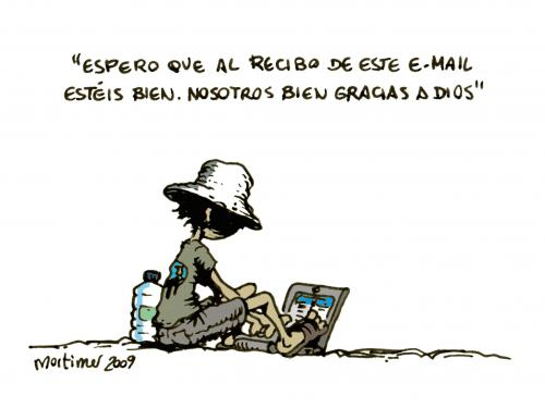 Cartoon: El email tradicional (medium) by mortimer tagged mortimer,mortimeriadas,cartoon,un,mundo,maraviloso,computer,email,internet,global,laptop,traditional