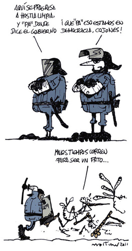 Cartoon: progreso 3 (medium) by mortimer tagged mortimer,mortimeriadas,cartoon,comic,spanish,revolution,police