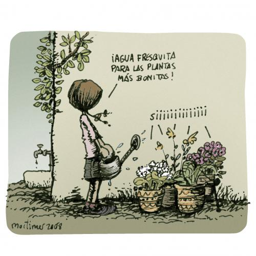 Cartoon: un mundo maravilloso (medium) by mortimer tagged nature,childs,mortimer,cartoon,frisch,wasser,gießen,pflanzen,blumen,welt,natur,topf,topfpflanze,gießkanne,mädchen,garten