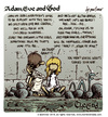 Cartoon: Adam Eve and God 48 (small) by mortimer tagged mortimer mortimeriadas cartoon comic biblical adam eve god snake paradise bible