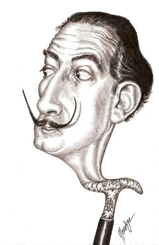 Cartoon: Salvador_Dali (medium) by menekse cam tagged salvador,domingo,felipe,jacinto,dali,domenech,spanish,surrealist,painter