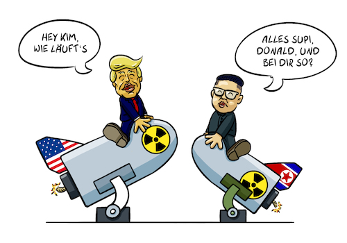 Cartoon: Donald und Kim (medium) by Sven Raschke tagged donald,trump,kim,jong,un,krieg,usa,nordkorea,diplomatie,donald,trump,kim,jong,un,krieg,usa,nordkorea,diplomatie