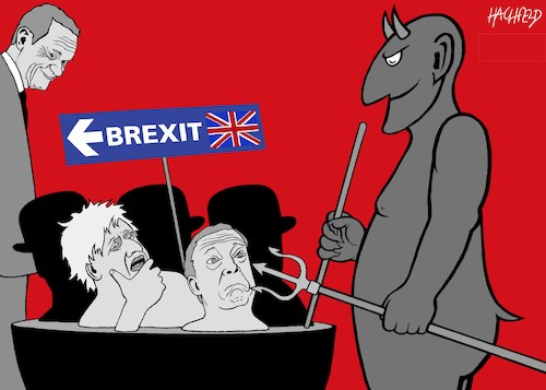Cartoon: Brexiteers in der Hölle (medium) by Hachfeld tagged brexit,dolad,tusk,boris,johnson,nigel,farage