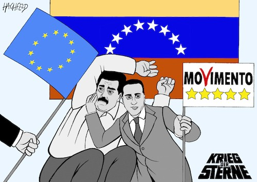 Cartoon: Krieg der Sterne in Venezuela (medium) by Hachfeld tagged venezuela,eu,maduro,di,maio