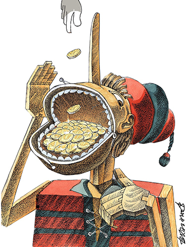 Cartoon: Silence is gold (medium) by Vladimir Khakhanov tagged word,and,deed