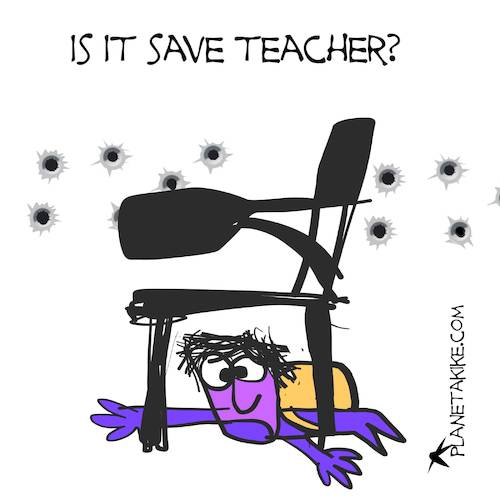 Cartoon: is it save teacher? (medium) by Kike Estrada tagged is,it,save,teacher
