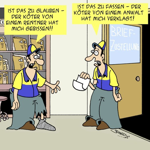 Cartoon: Ein harter Job! (medium) by Karsten tagged deutsche,post,briefzustellung,hunde,tiere,jobs,gesundheit,briefträger,deutsche,post,briefzustellung,hunde,tiere,jobs,gesundheit,briefträger
