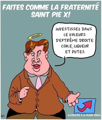 Cartoon: Fraternite Saint Pie X (medium) by Karsten tagged politiques,extreme,droites,religion,fraude,fiscal,allemagne,afd,europe,criminalite,politiques,extreme,droites,religion,fraude,fiscal,allemagne,afd,europe,criminalite