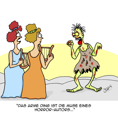Cartoon: Horror!!! (medium) by Karsten tagged literatur,schriftsteller,bücher,autoren,horror,zombies,musen,inspiration,literatur,schriftsteller,bücher,autoren,horror,zombies,musen,inspiration
