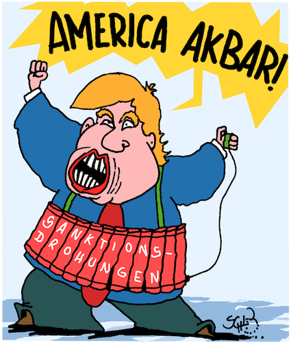 Cartoon: Trump droht (medium) by Karsten tagged sanktionen,erpressung,wirtschaft,embargo,iran,atomabkommen,usa,europa,tump,geld,business,sanktionen,erpressung,wirtschaft,embargo,iran,atomabkommen,usa,europa,tump,geld,business