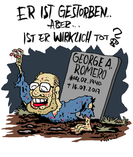 Cartoon: WIRKLICH tot? (medium) by Karsten tagged george,romero,zombies,filme,hollywood,kunst,monster,horror,kult,regisseure,kultur,george,romero,zombies,filme,hollywood,kunst,monster,horror,kult,regisseure,kultur