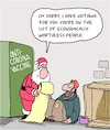 Cartoon: Worthless (small) by Karsten tagged coronavirus,pandemic,vaccine,science,economy,social,issues,homelessness,christmas,politics,society