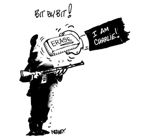 Cartoon: Rub Out (medium) by John Meaney tagged paris,attack,terror