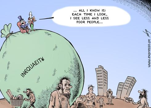 Cartoon: Disappearance of Poverty (medium) by rodrigo tagged economy,crisis,financial,international,poverty,poor,rich