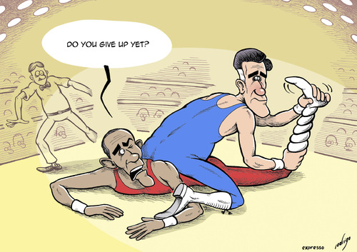 Cartoon: Dynamitt Romney (medium) by rodrigo tagged mitt,romney,barack,obama,presidential,election,debate,us,usa,united,states,campaign