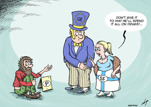 Cartoon: Finland could let Portugal die (medium) by rodrigo tagged finland,portugal,eu,financial,rescue,crisis,recession,imf,ecb,ec,europe