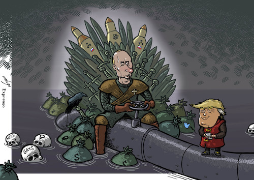 Cartoon: Game of Tyrants (medium) by rodrigo tagged russia,usa,putin,trump,oil,gas,economy,gays,ngo,women,warfare,autocracy,authoritarianism