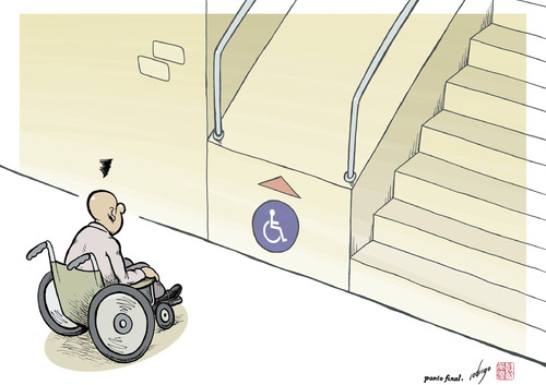 Cartoon: Handicapped architecture (medium) by rodrigo tagged handicap,disabled,obstacles,architecture,equality,society