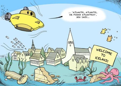 Cartoon: Iceland sinks (medium) by rodrigo tagged iceland,economy,crisis,financial,europe,eu,bankruptcy
