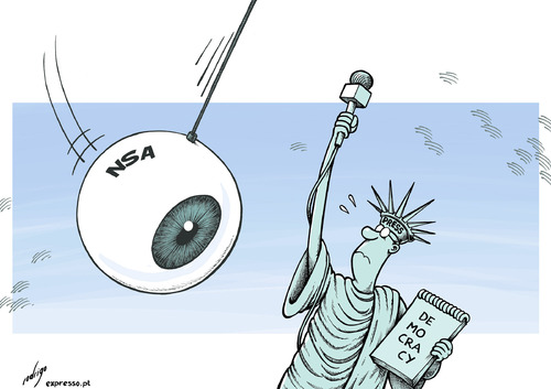 Cartoon: Overvigilance threatens freedom (medium) by rodrigo tagged us,united,states,america,usa,nsa,vigilance,democracy,press,freedom,liberty,journalism