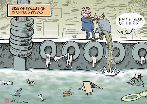 Cartoon: Porkllution (medium) by rodrigo tagged china,economy,industry,pollution,water,rivers,sea,plastic