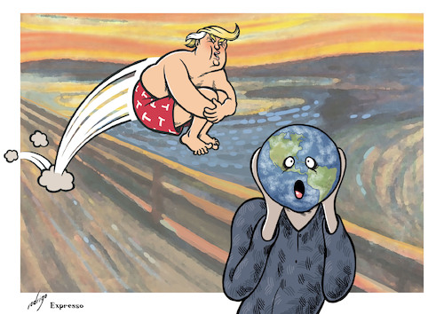 Cartoon: The Post-electoral Scream (medium) by rodrigo tagged donald,trump,elections,presidential,usa,us,unites,states,america,president,international,relations,diplomacy
