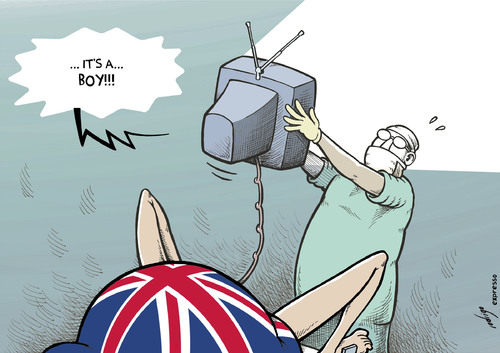 Cartoon: UK media baby (medium) by rodrigo tagged uk,baby,prince,william,kate,middleton,media,news,coverage,royal,family