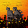 Cartoon: Godzillas - English version (small) by Yavou tagged godzilla,king,of,monsters,gojira,destruction,babysteps,monster