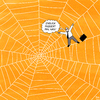 Cartoon: TARANTULA (small) by Yavou tagged tarantula,cartoon,spider,spiders,web,spinne,spinnennetz,arachnida,business,man,koffer,suitcase
