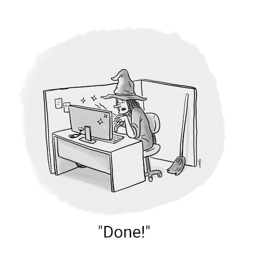 Cartoon: A Witch At The Office (medium) by Fani tagged witch,office,work