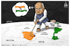 Cartoon: India and Jammu Kashmir (small) by Mikail Ciftci tagged india,kashmir,statu,jammukashmir,pakistan