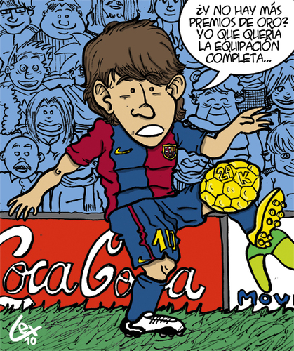 Cartoon: Lionel Messi Balon de Oro 2010. (medium) by lexgromiko tagged lionel,messi,balon,oro,2010,barcelona