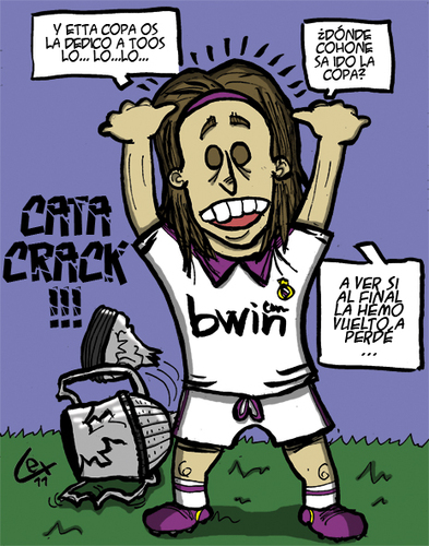 Cartoon: sergio ramos pierde la copa (medium) by lexgromiko tagged sergio,ramos,copa,rey,futbol,real,madrid,barcelona