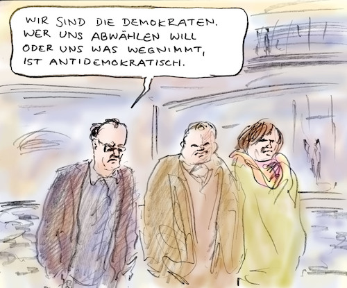 Cartoon: Besorgte Demokraten (medium) by Bernd Zeller tagged politiker