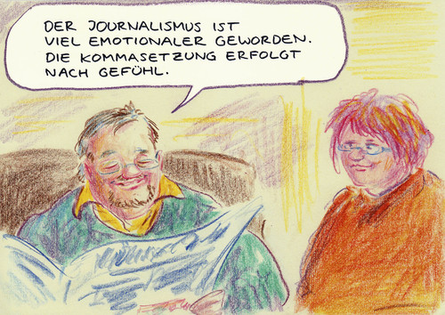 Cartoon: Emotional (medium) by Bernd Zeller tagged rechtschreibreform,journalismus