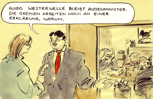 Cartoon: Guido gesichert (medium) by Bernd Zeller tagged guido,westerwelle,rösler,fdp