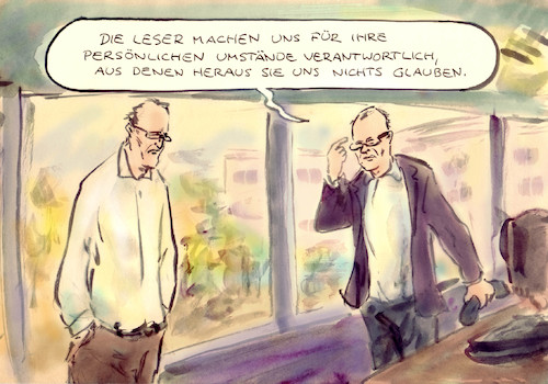 Cartoon: Leser-Blatt-Bindung (medium) by Bernd Zeller tagged journalisten