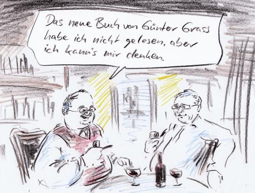 Cartoon: Literaten (medium) by Bernd Zeller tagged literatur,bücher,literaten,günter,grass,romane,dichter,buchmesse,buchhandel