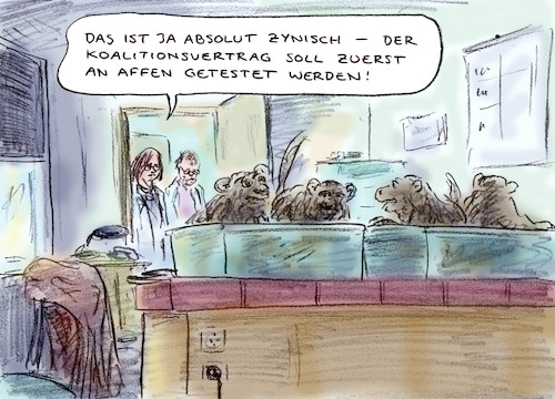 Cartoon: Zynisch (medium) by Bernd Zeller tagged koalitionsvertrag