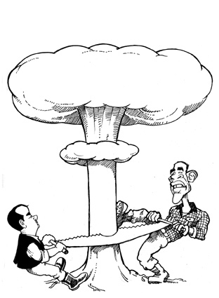 Cartoon: Medvedev and Obama in Prague (medium) by Nenad Vitas tagged new,salt,nuclear,weapons